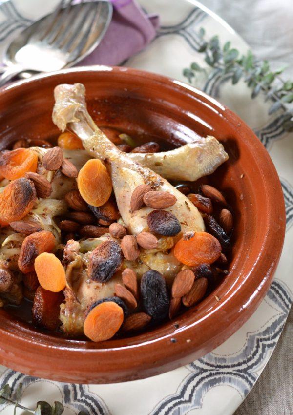 Tajine au four poulet, abricot et amande