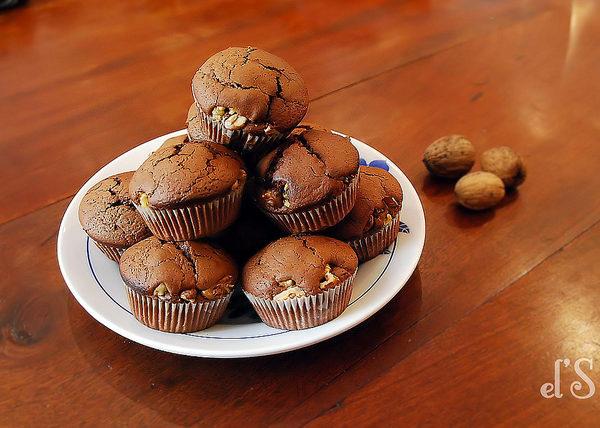 Muffin au chocolat et aux noix