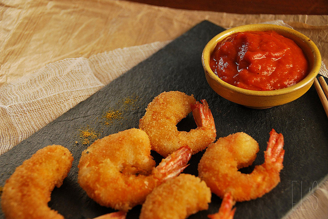 Fried scampi - Crevettes frites