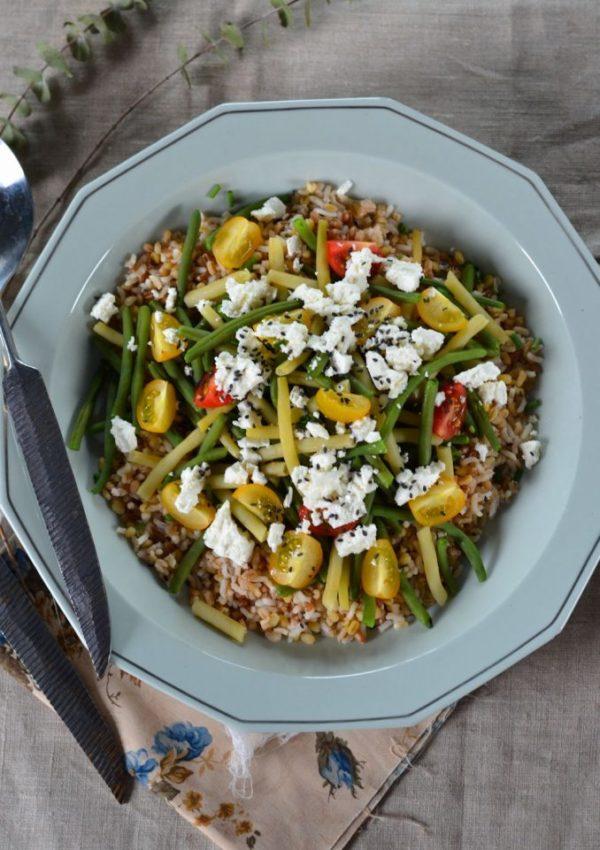 Salade de haricots verts, haricots beurres et céréales
