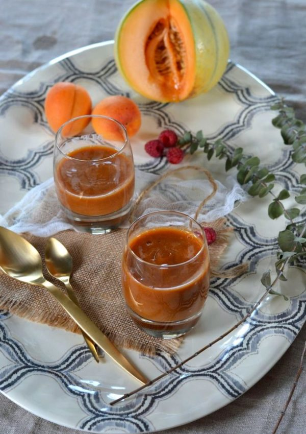 Smoothie melon, abricot et framboise