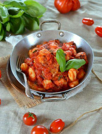 Gratin de gnocchi sauce tomate, basilic et mozzarella fumée