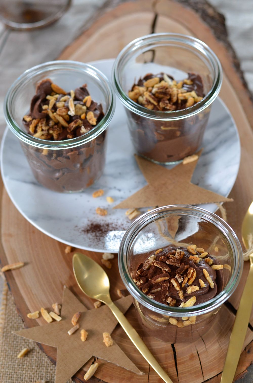 Mousse au mascarpone, cacao et amandes sans oeuf