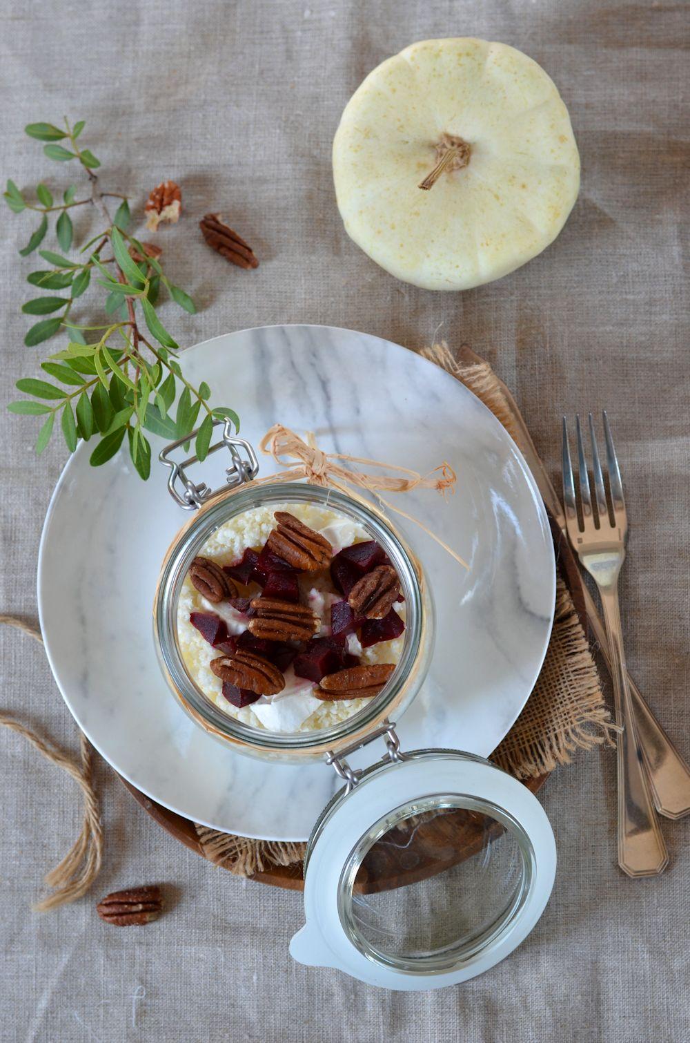 Taboulé de semoule de chou-fleur cru et betterave