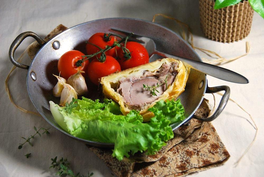 Filet mignon en croute à la crème d'ail