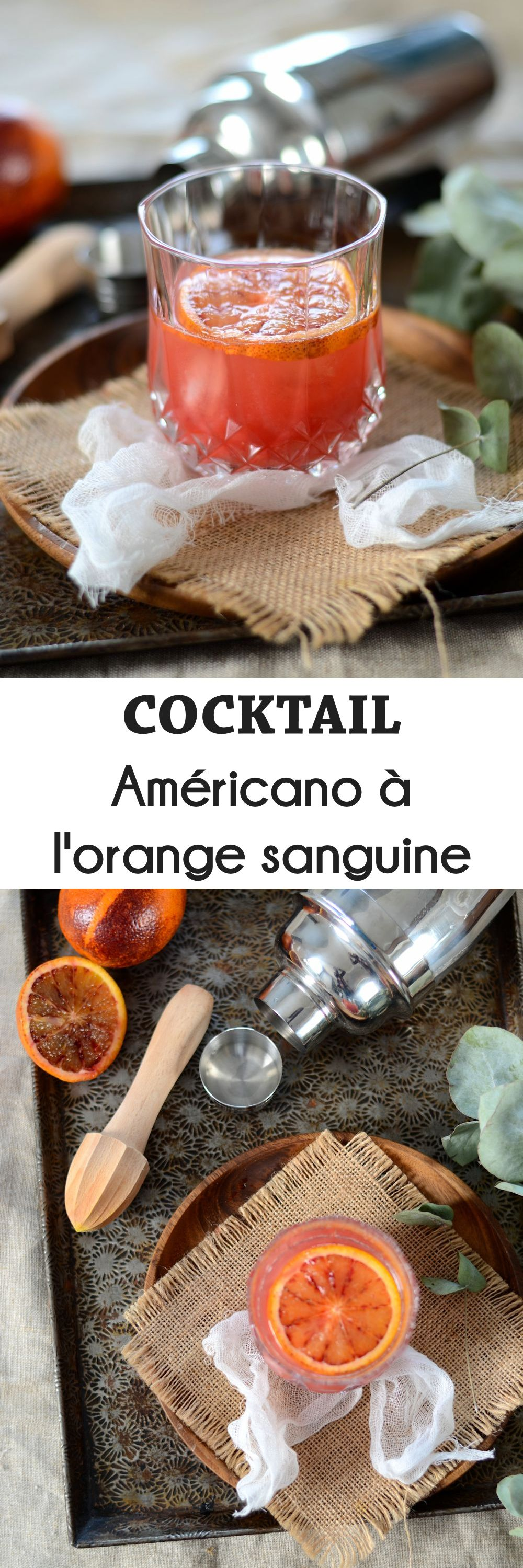 Cocktail Americano à l'orange sanguine