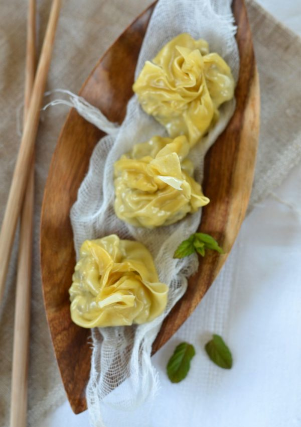 Raviolis chinois à la vapeur, au poulet et au citron