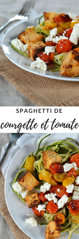 spaghetti courgette tomate feta