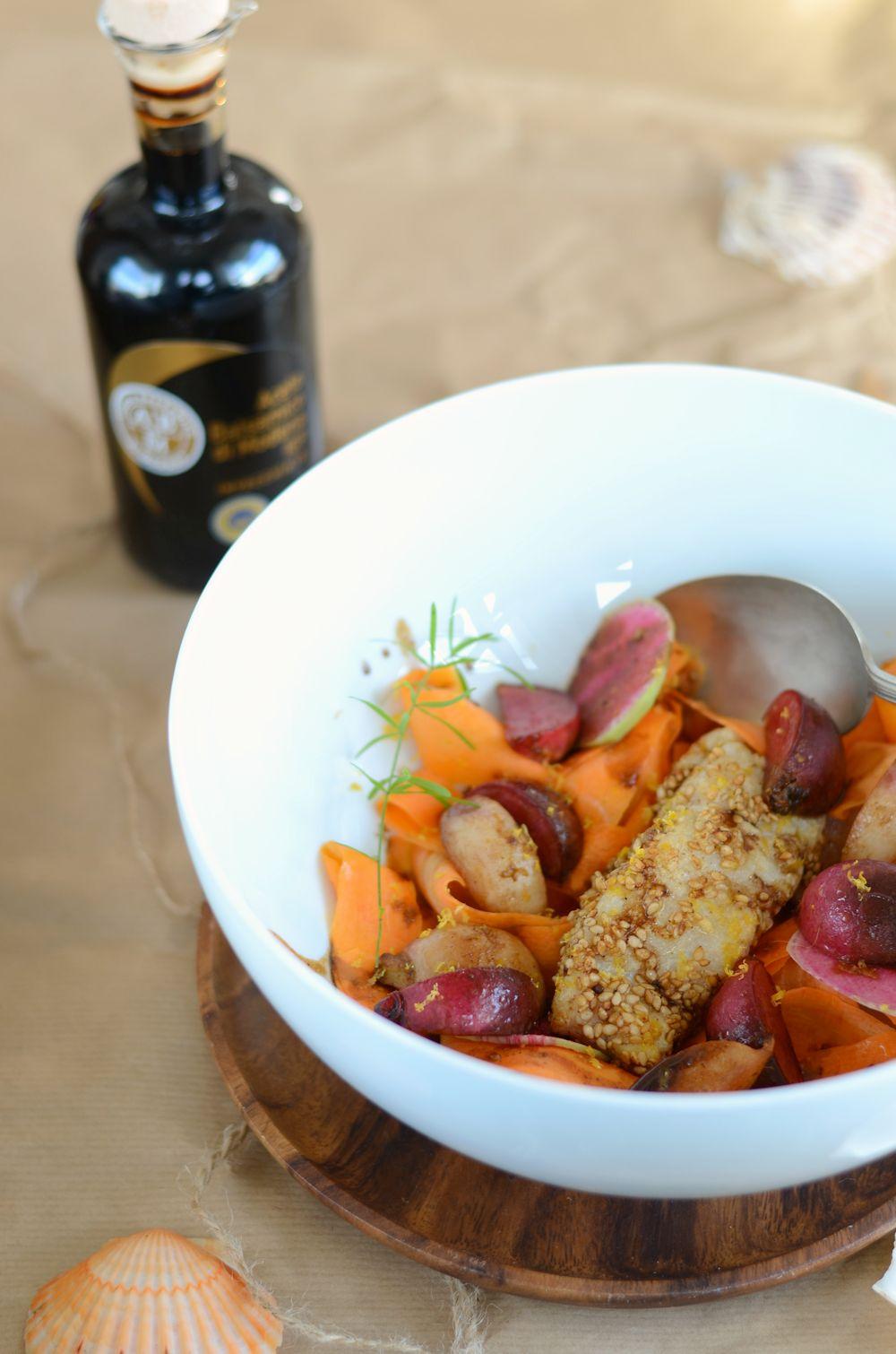 Dos de cabillaud en croute de sésame et balsamique