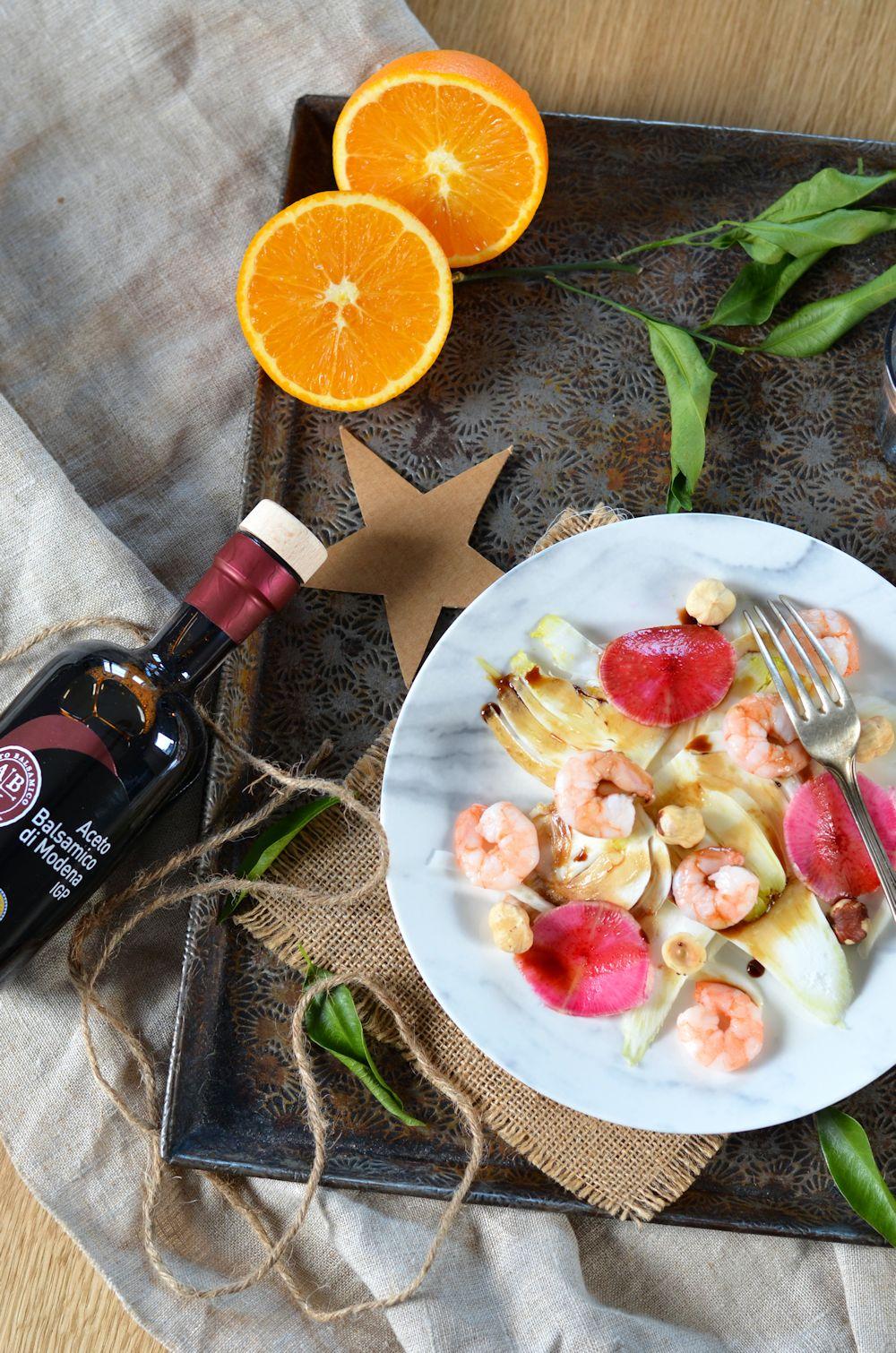 Salade de fenouil, crevettes, sauce agrumes et balsamique