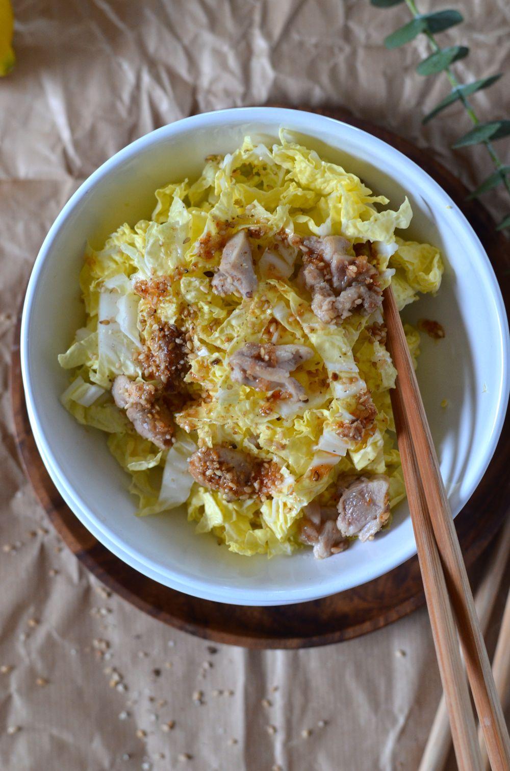 Salade de chou chinois au poulet et sésame
