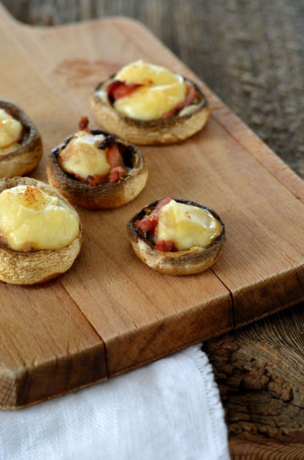 Champignons farcis aux lardons et fromage