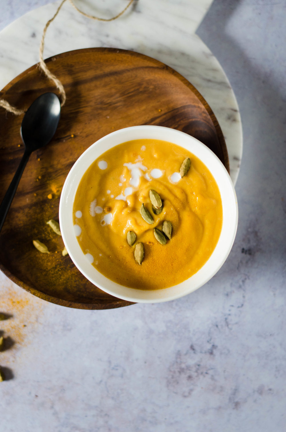 Soupe de patate douce et lait de coco