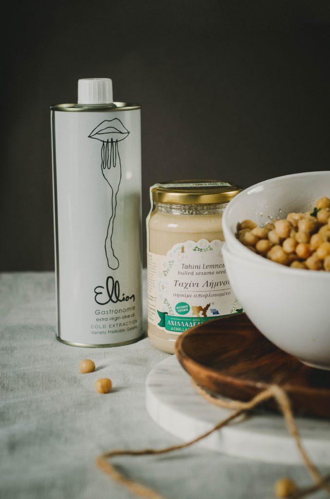 Huile d'olive et tahini grecques