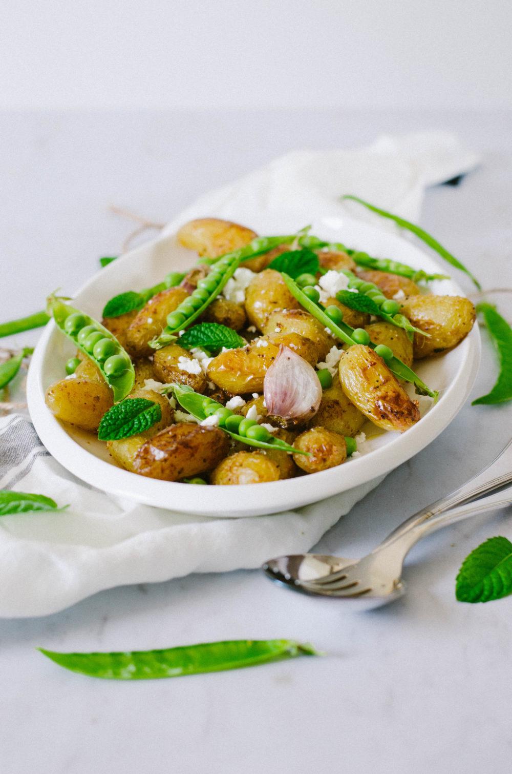 Salade de pomme de terre délicatesse, petit-pois et feta