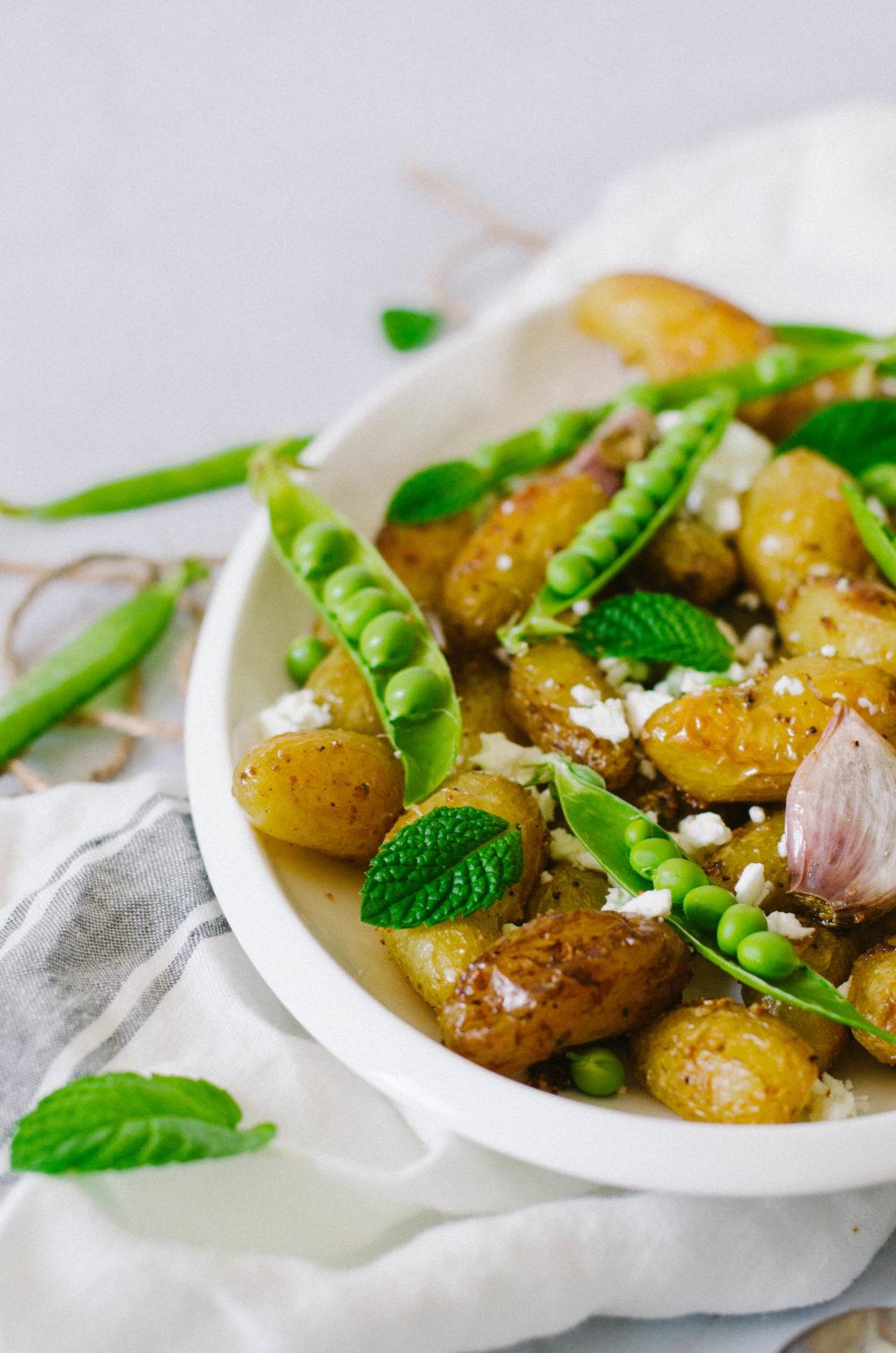 Salade de patate, petit-pois et feta
