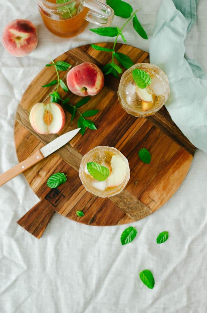 thé glacé pêche menthe recette maison
