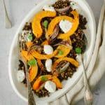 Butternut rôtie au four et lentilles vertes