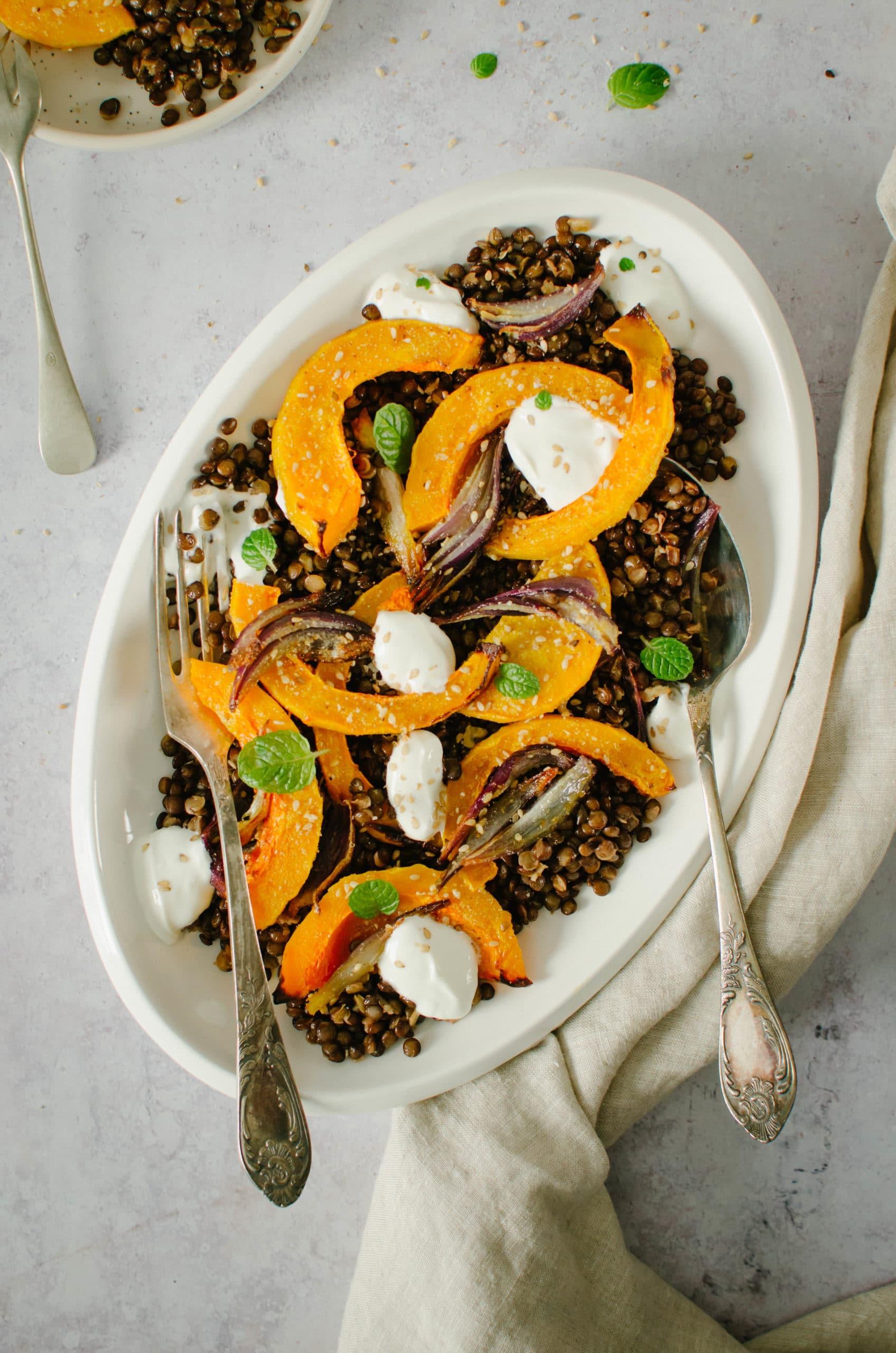 courge et salade de lentilles