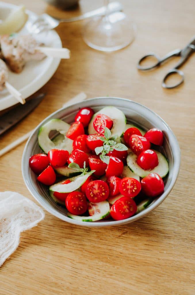 salade de tomate et concombre