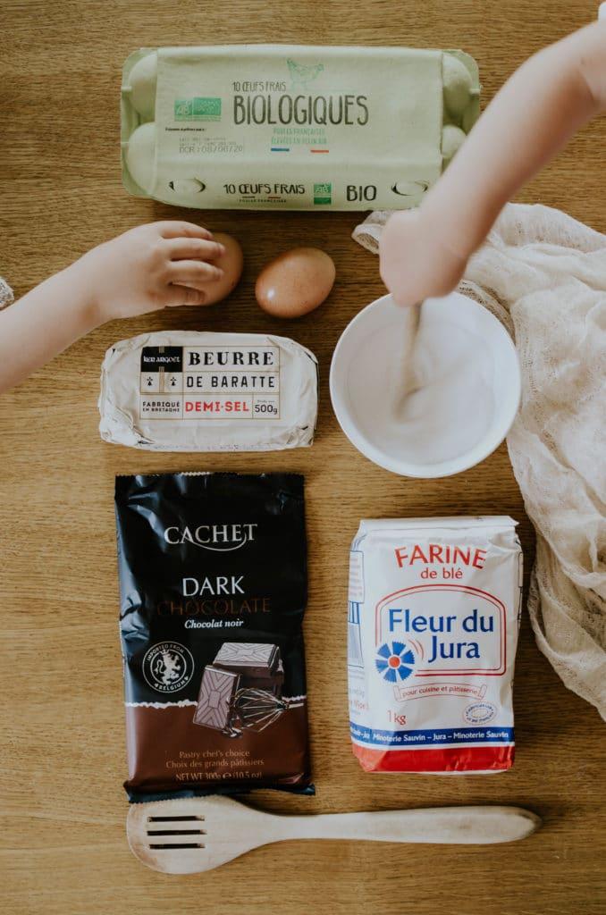 ingredients gateau au chocolat