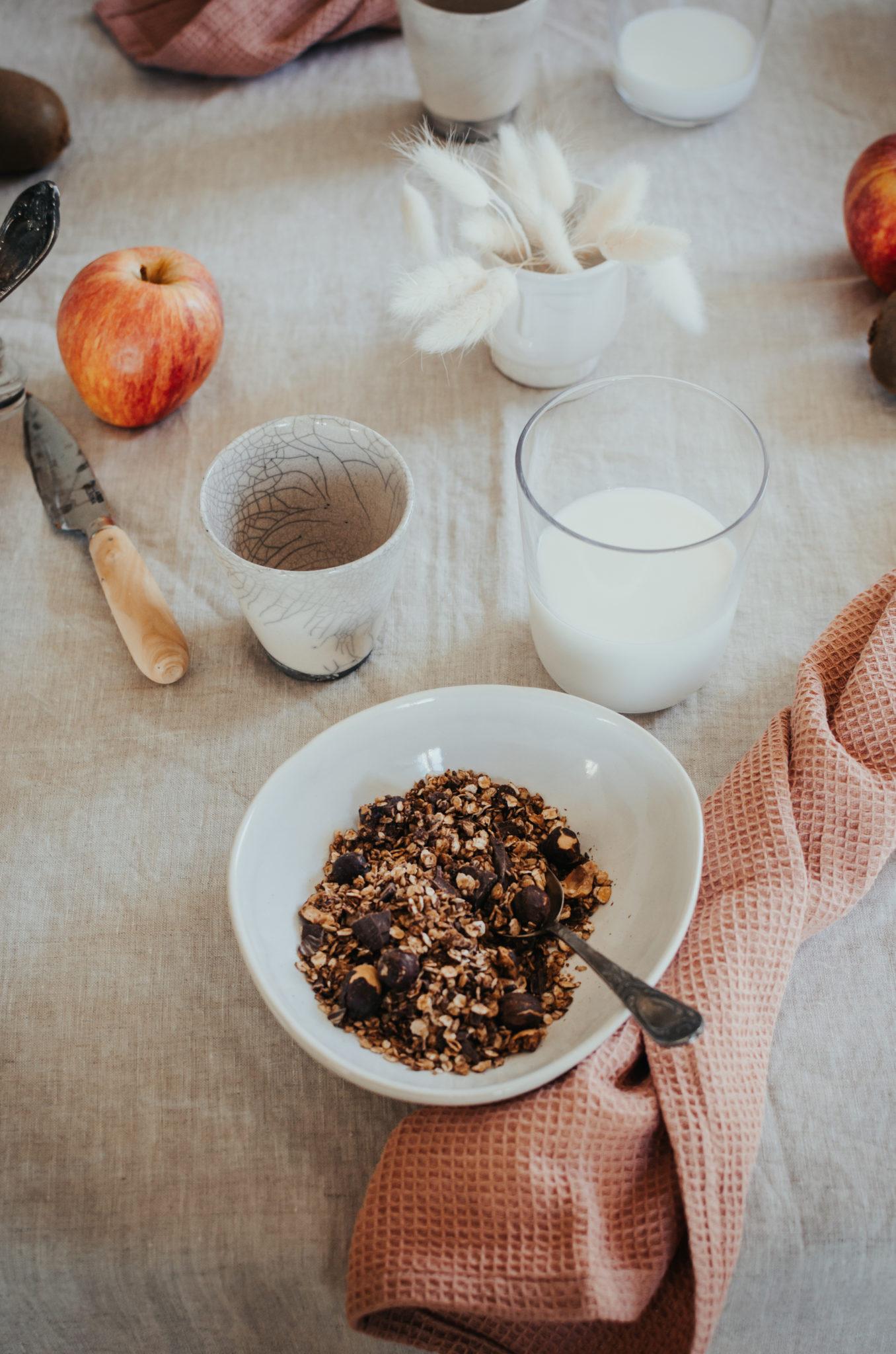 Granola maison au chocolat et noisettes