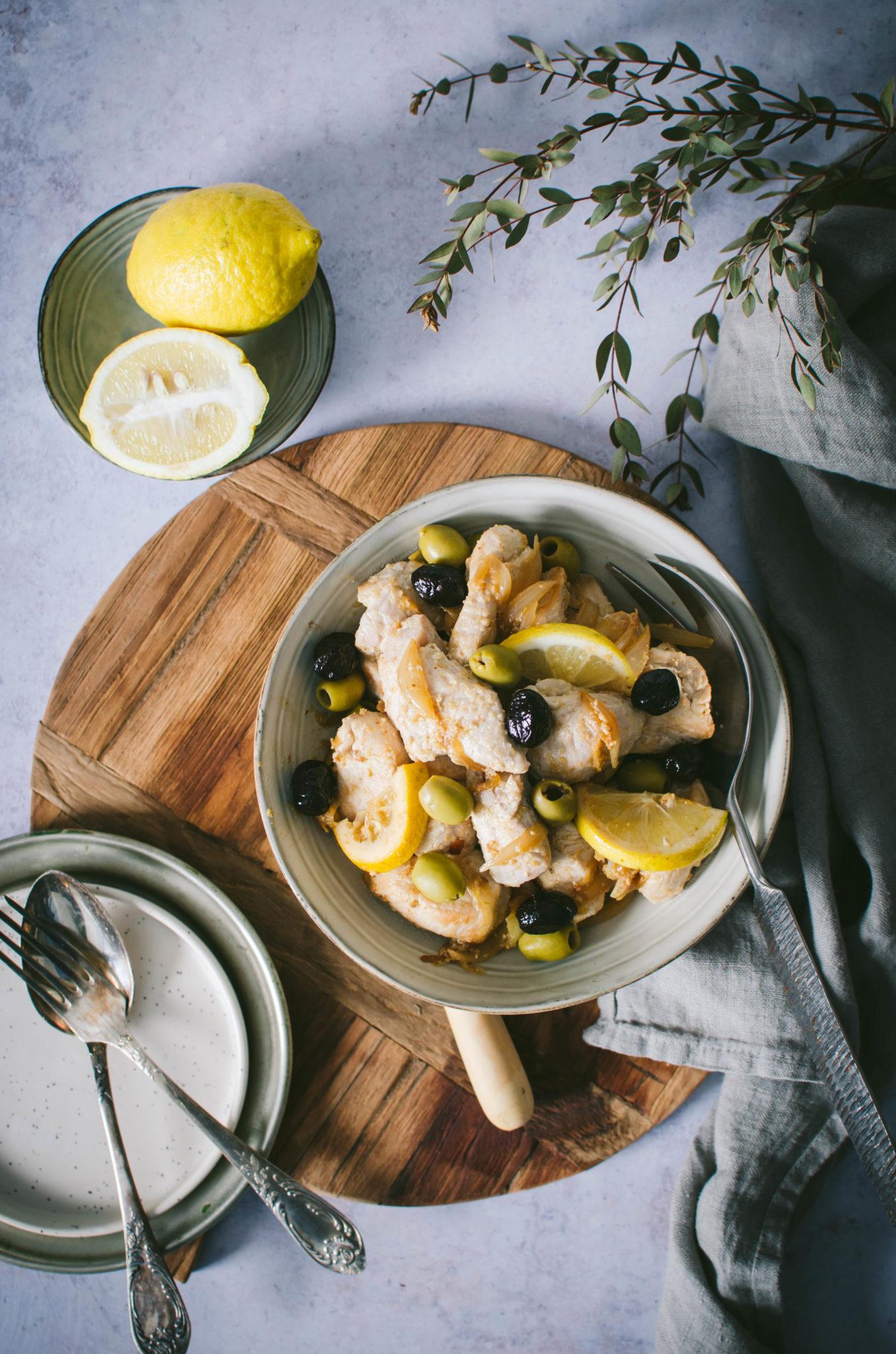 Viande mijoté aux citron et olives