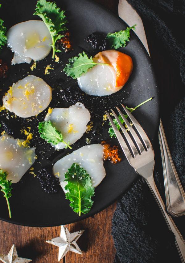 Carpaccio de Saint-Jacques aux œufs de poissons