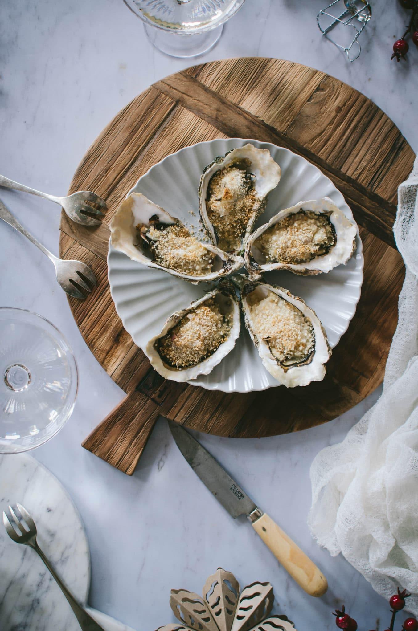 Huîtres chaudes gratinées au four