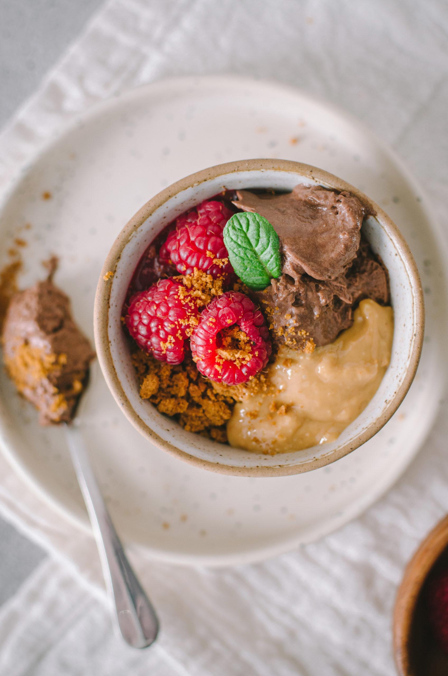 verrine mousse au chocolat framboise