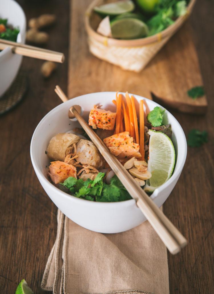 Salade Bo Bun au saumon